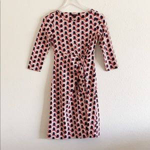 Talbots Pink Navy Abstract Print Twist Front Dress